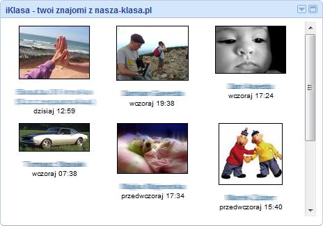 iKlasa - gadżet dla iGoogle pokazujący ostatnio dodane fotki znajomych